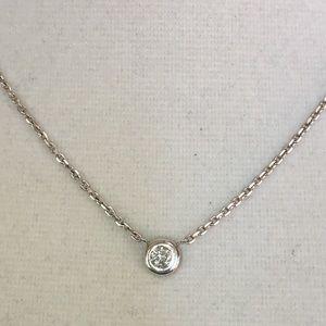 Jewelry - 14K Italy 1/4CT Diamond Solitaire Bezel Necklace